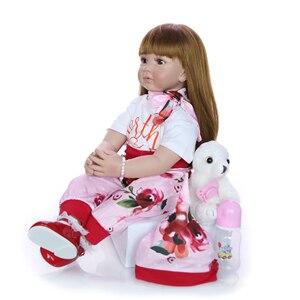 Image 4 - Mode 24 Zoll Reborn Baby Puppe 60 cm Silikon Weiche Realistische Prinzessin Mädchen Babys Puppe Spielzeug Ethnische Puppe Für Kinder der Tag Geschenk
