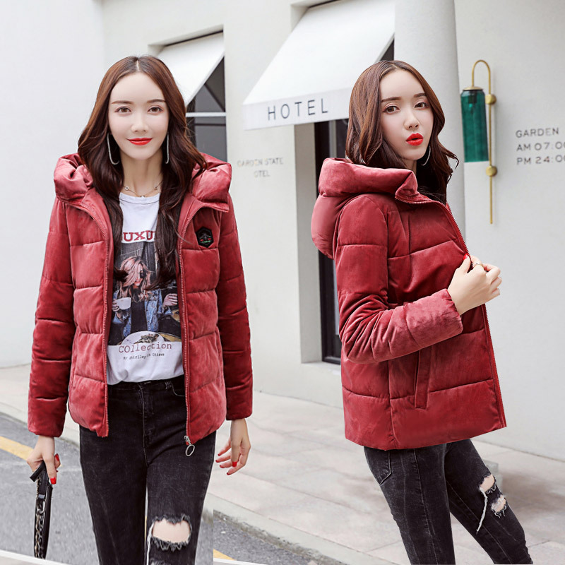 e1976172e41 Corduroy Stand Collar Quilted Jacket Women Winter Coats Plus Size Slim  Parka Female Short Solid Zipper Warm Outwear 2018 Okd334-in Parkas from  Women s ...
