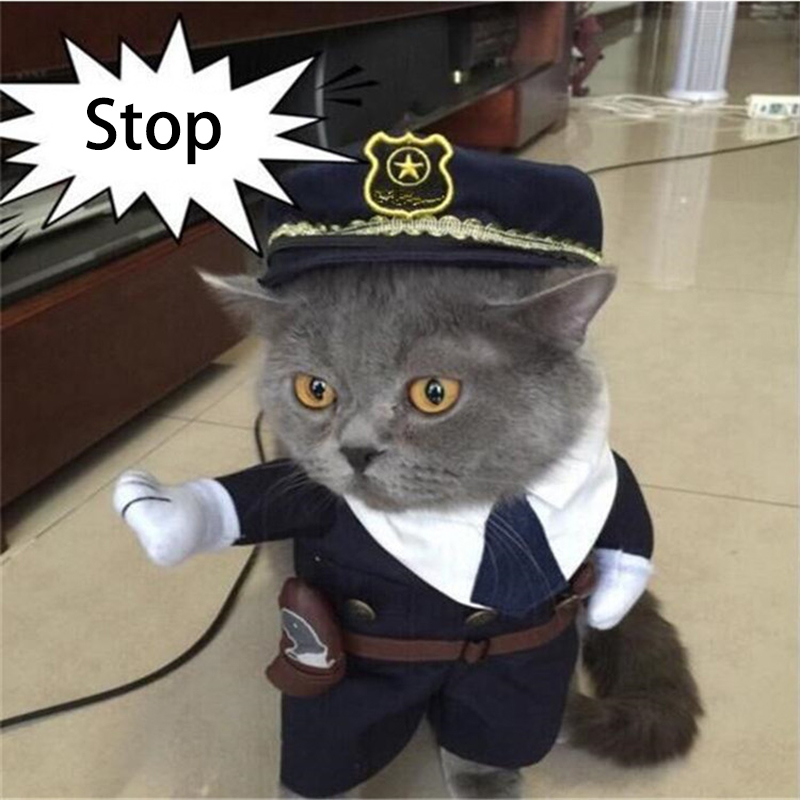 New 2016 Whimsy Funny Pet Cat Dog Dress Uniform Suit Clothes + Hat The Police Cloth Set For Dog Cat