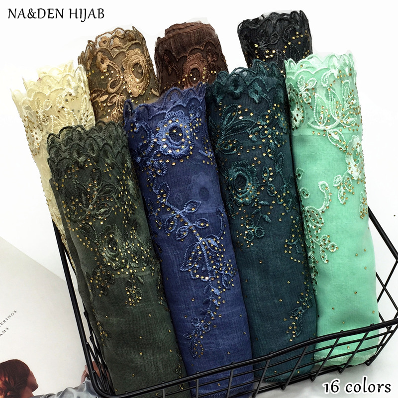 NEW Embroidery Flower Scarf Hijab Sparkling Fashion Muslim Scarfs Shiny Women Scarves Shawls Brand Muffler Luxury Islamic Hijabs