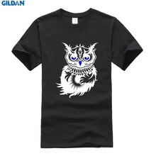 Steampunk New Arrival Cotton Gildan Tshirt Men Cotton Night`S Owl T-Shirt Big Size A Dark Owl Men's T Shirt Plus Size