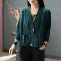 Ethnic style vintage cotton and jacquard blouse Mori women's loose dark flower knit cardigan loose short coat autumn