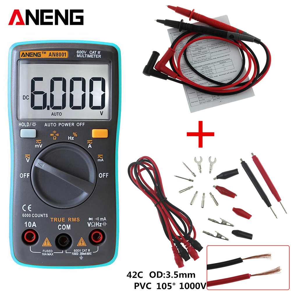 ANENG Professional And Practical AN8001 Digital Multimeter 6000 Counts Backlight AC/DC Ammeter Voltmeter Ohm Portable Meter an8001 an8002 an8004 lcd digital multimeter 6000 counts with backlight ac dc ammeter voltmeter ohm portable meter