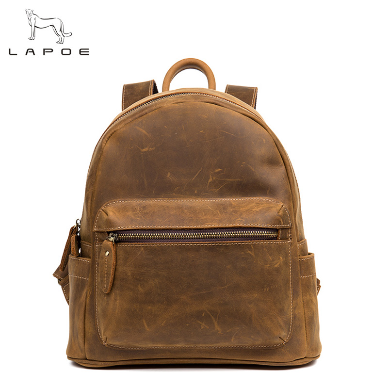 LAPOE men and women Genuine Leather Backpacks Vintage Style Travel Bags men 10inch laptop School Bags Backpacks Casual Backpack 14 15 15 6 inch flax linen laptop notebook backpack bags case school backpack for travel shopping climbing men women