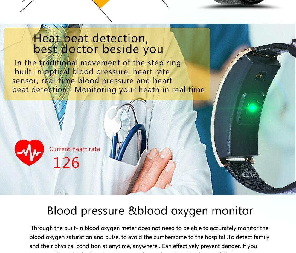 CK11S Wristband Blood Pressure Watch Blood Oxygen Heart Rate Monitor Pedometer IP67 Waterproof marigold 6