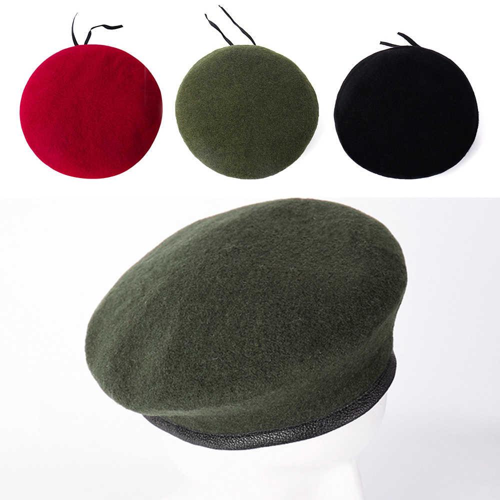 Унисекс военный армейский солдатский берет, шапка из смешанной шерсти для мужчин и женщин, регулируемая форменная кепка, фирменная Новинка, 60 см
