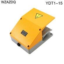 Interruptor de pé wzazdq YDT1 15, concha de alumínio cinza, interruptor de pedal duplo, acessórios de ferramenta