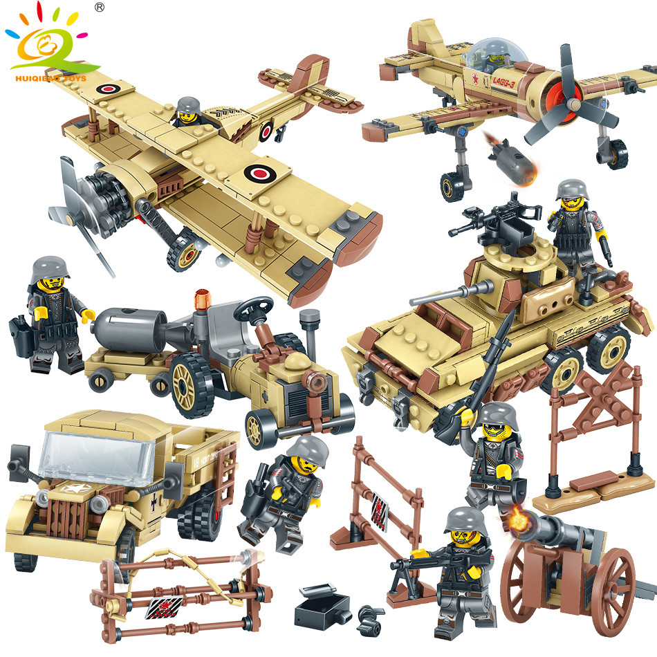 1035pcs Army Trucks Soldiers weapon Building Blocks set Compatible legoed Military WW2 DIY Bricks Educational Toys for Children цена