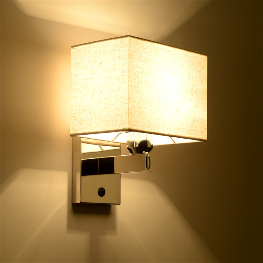 Modern Wall Light LED Reading Lamp Wall Lamp Hostel Bed Night wall sconces Bedroom Light Fabric Bedsides Lighting Fixtures