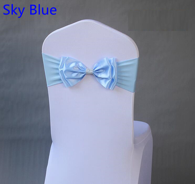 Phenomenal Us 40 0 Sky Blue Colour Satin Chair Sash Spandex Chair Sash Bow Tie Lycra Fit All Chairs Wedding Banquet Hotel Party Decoration In Sashes From Home Interior Design Ideas Clesiryabchikinfo