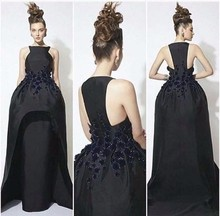 Elegant Black Muslim Beading Satin Evening Dress 2016 Crystal High Quality Off The Shoulder Straight Prom Dresses