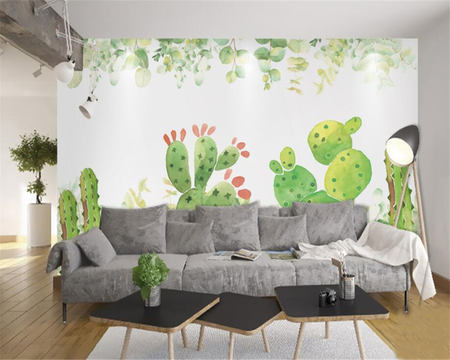 living room background. Custom children s room interior wallpaper for walls 3d watercolor cactus living  background hand painted Aliexpress com Buy