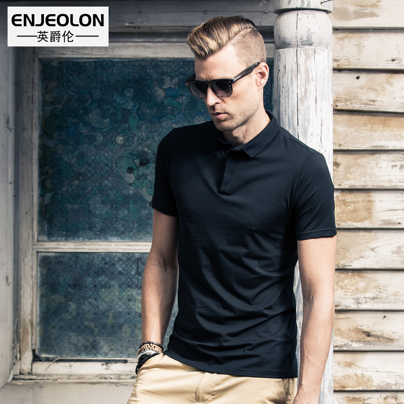 Enjeolon Brand Top 2017 Classic Short Sleeve Solid Cotton Polo Stand Collar Clothing Black