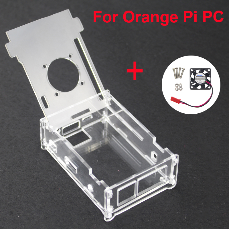 For Orange Pi PC Acrylic Transparent Case Box Orange Pi Plus Clear Enclosure Cover Shell + Cooling Fan For Orang Pi PC/PC Plus