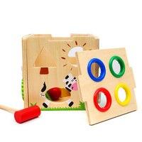 Drewniany Młotek Gra W Piłkę Klocki, drewniane Zabawki Edukacyjne dla Dzieci, zabawa Blok Blok Gra Planszowa Młotek Zabawka Prezent dla Chłopca Dziewczyna
