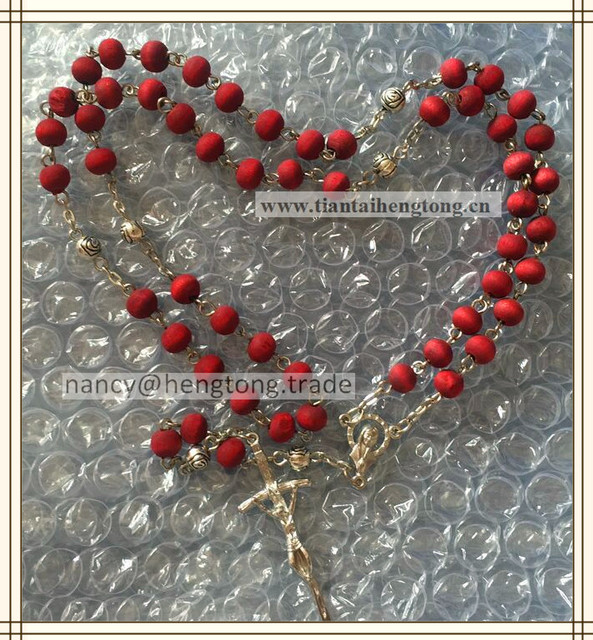 US $18 8  6*7MM perfumer rose scent wood beads religious catholic rosary  necklace with crucifix &plastic saint case-in Pendant Necklaces from  Jewelry
