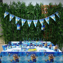 132pcs Flags Tablecloth Straws Cups Plates Minions And Other Party Supplies Kids Birthday Party Supplies Decoration favors