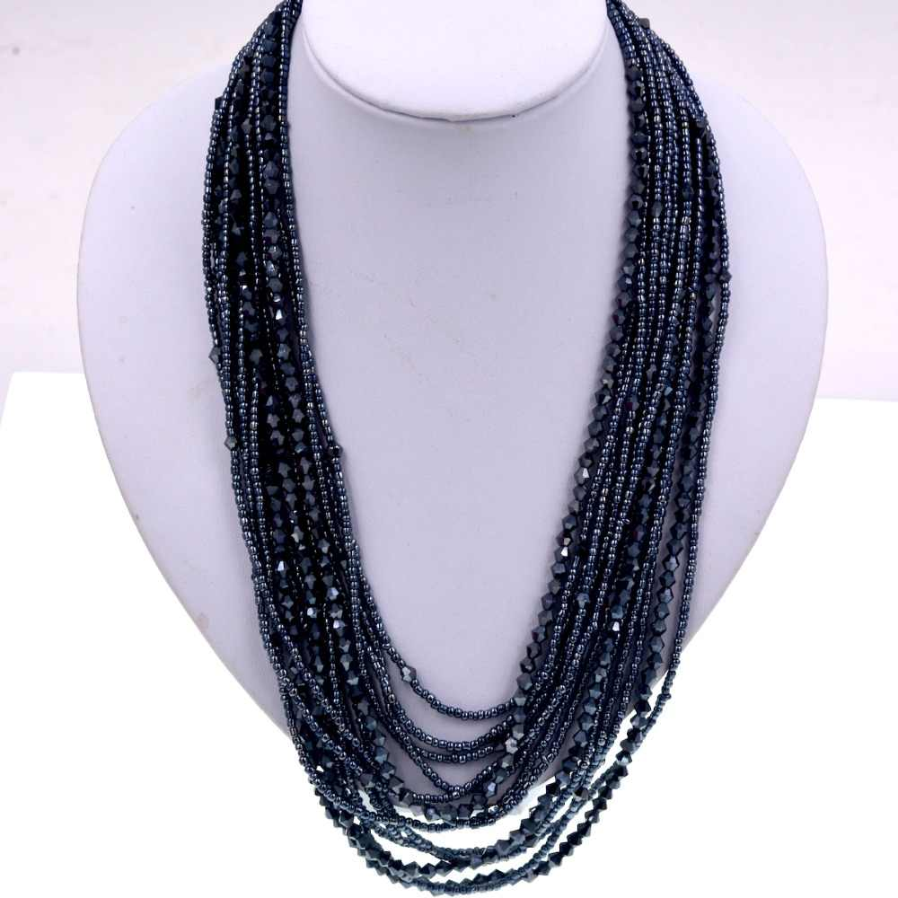 gray crystal and seed beads mix layer seed beads statement necklace