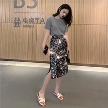 YICIYA Korean High Street Sexy Style Waisted Reflective Silver Sequin on Black Skirts Elastic Waist Slit Midi Skirt Women