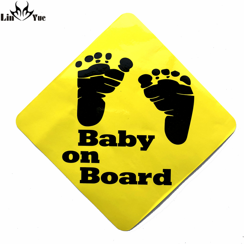 20cm Tall Footprint Cartoon Cute Baby On Board Car