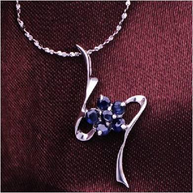 Collier Collares Qi Xuan_Dark подвеска с синим камнем шейный_ настоящий шейный_ Качество прямые ed_производитель прямые продажи - Окраска металла: Родиевое покрытие