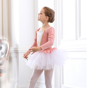 Image 2 - Vestidos de Ballet de manga larga para chicas, tutú de Ballet de danza, Ropa de baile de bailarina, disfraz de Lago Cisne Negro/rosa para niñas y niños