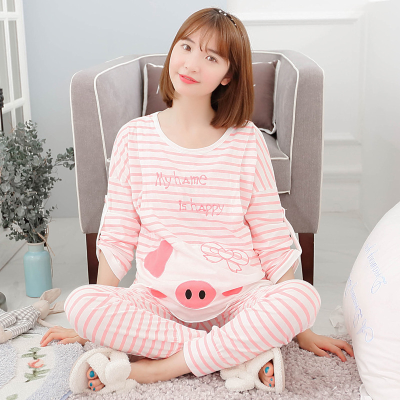 Maternity Nursing Nightgown Pajamas Set Pink Striped Breastfeeding Sleepwear Pregnant Women Cute Pig Pijamas Long Pants Sets