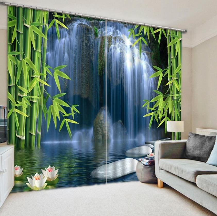 Bamboo Door Curtains Custom Modern 3D Curtain Stereoscopic Photo Waterfalls Curtains Blackout