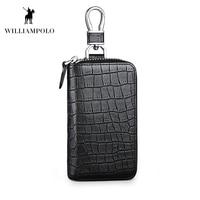 WILLIAMPOLO New Crocodile Key Wallet Genuine Leather Cowhide 6 Keys Holder Luxury Design Home Key Case PL186123