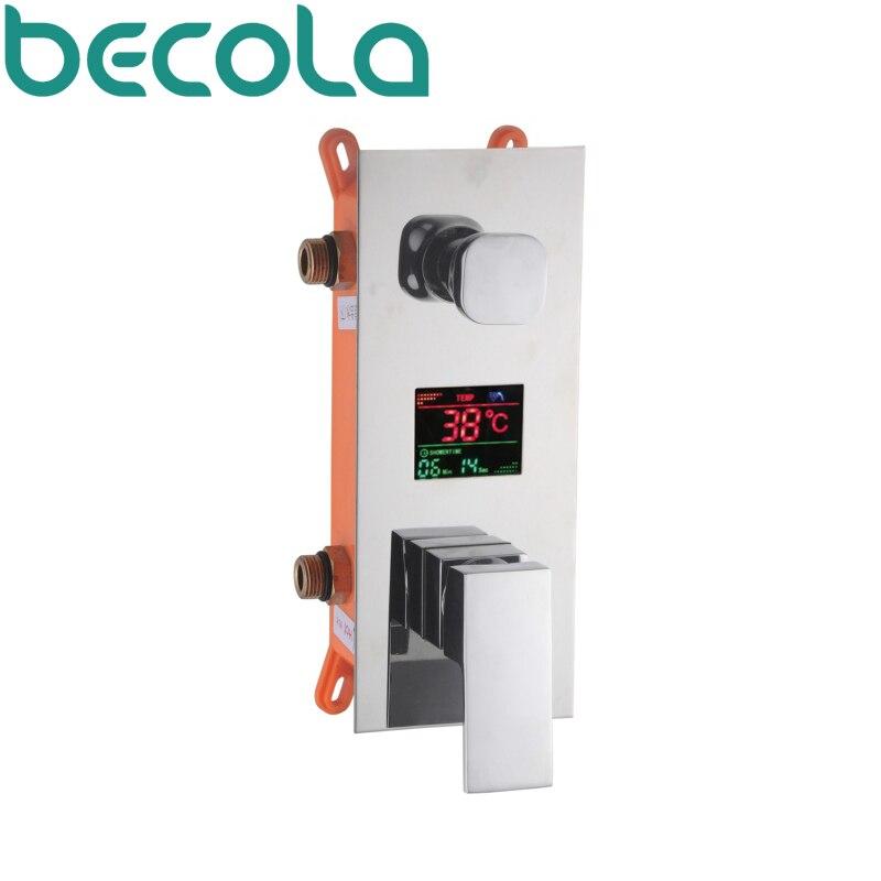 Becola новый дизайн для душа Скрытого Клапан светодиодный цифровой дисплей температуры душ Смеситель кран b-9811
