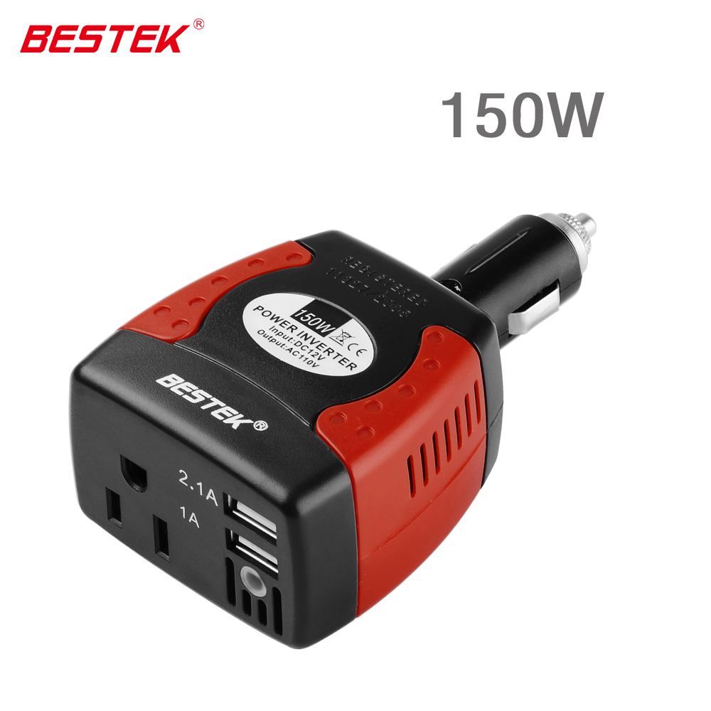 Bestek 150w power inverter car outlet converter peak 360w with 3 1a dual usb charging ports