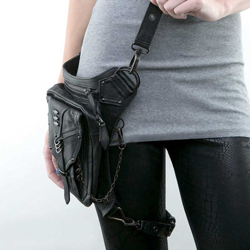 Steampunk Women Waist Bag Gothic Fanny Packs Motorcycle Hip Leg Bag Female Holster Shoulder Bag Leather Crossbody Bags For Men