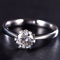Модное кольцо Moissanite кольцо 18 K кольца из белого золота для свадьбы