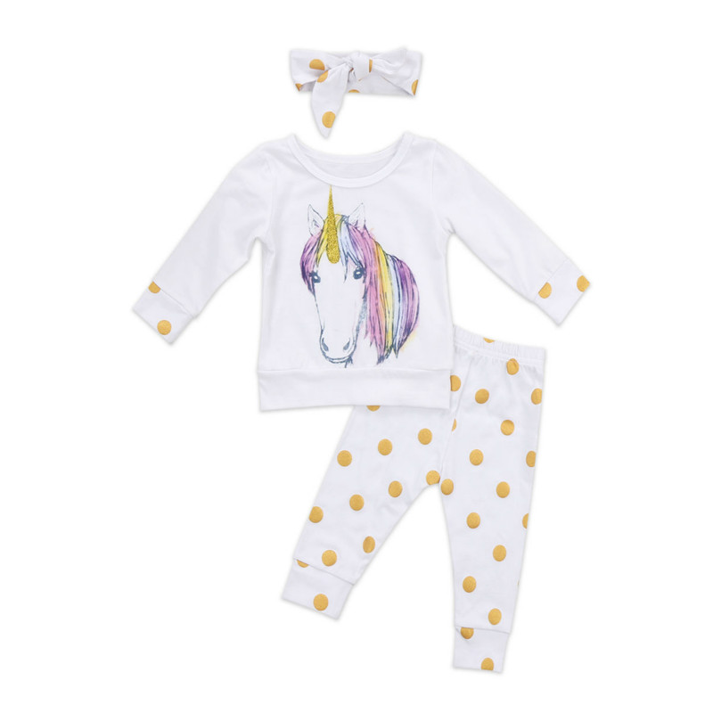 Autumn New Colorful Unicorn Newborn Baby Girl Kid Casual Outfits Clothes Full Sleeve Tops Leggings Dot Pant Headband 3PCS Set