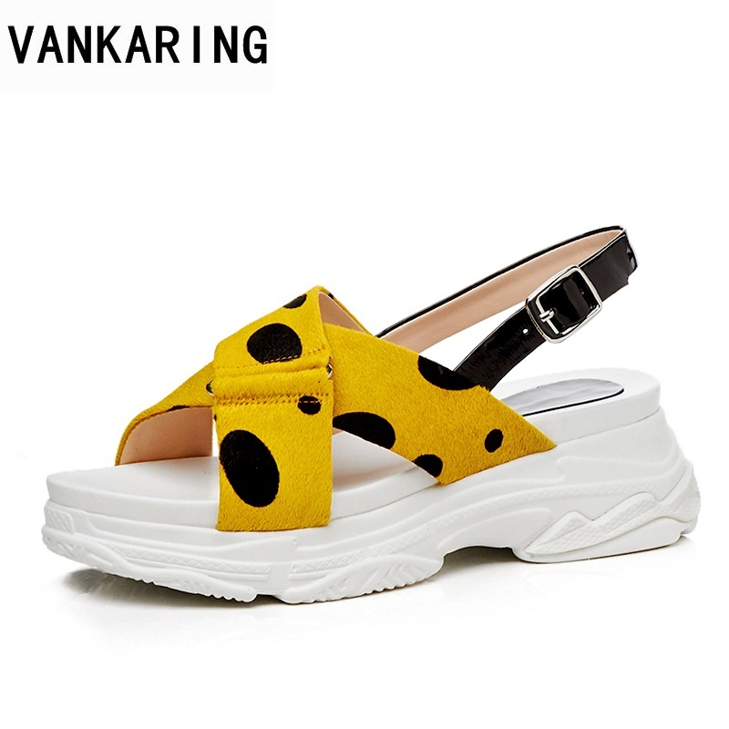 VANKARING women sandals wedges shoes 2018 hot new circular point platform sandals women open toe ankle strap shoes casual anmairon shallow leisure striped sandals women flats shoes new big size34 43 pu free shipping fashion hot sale platform sandals