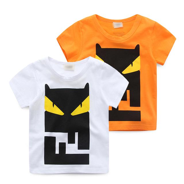Masculino niño Camiseta infantil de verano de manga corta casual top 2017 ropa de bebé de algodón 100% de la camisa básica