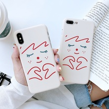 все цены на Simple Cute Graffiti Painting  Case For iPhone X 6 6S 7 8 plus Matte PC Hard Back Cover For iphone XR XS XS Max Coque Funda Capa