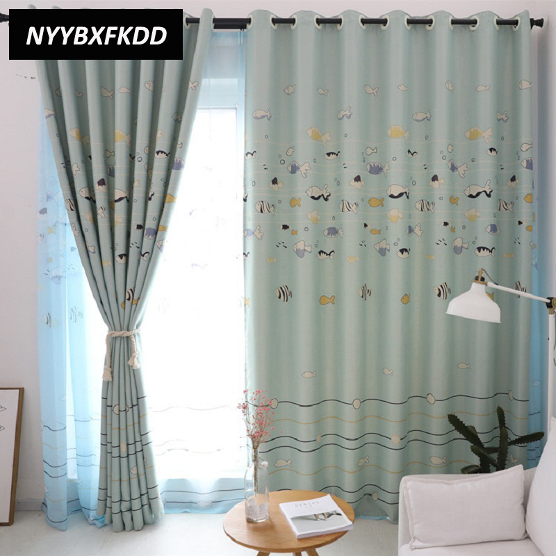 Us 10 94 50 Off Blue Fish Digital Printed Cartoon Child Boy Baby Blackout Curtains For Bedroom Living Room Window Treatments Tulle In