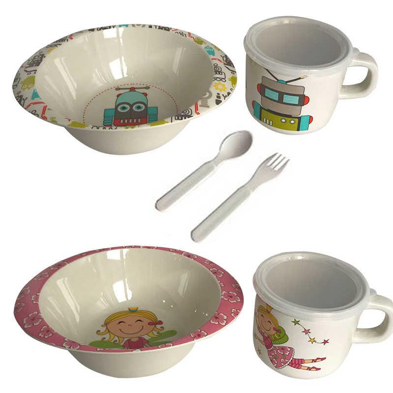 Sisi & Tommy ไม้ไผ่ BPA ฟรีจานชามช้อนส้อมจานให้อาหารชุดอาหารสำหรับเด็กทารกเด็กวัยหัดเดิน