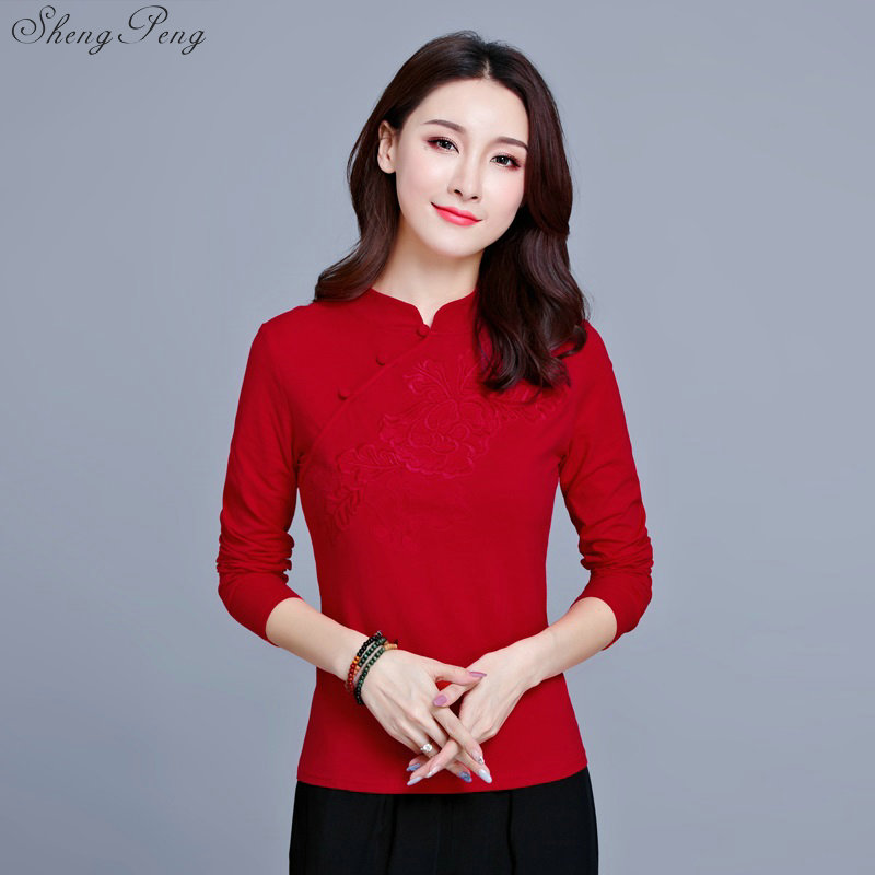 Image 4 - Cheongsam top traditional chinese clothing women tops womens long sleeve tops V1135-in Tops from Novelty & Special Use
