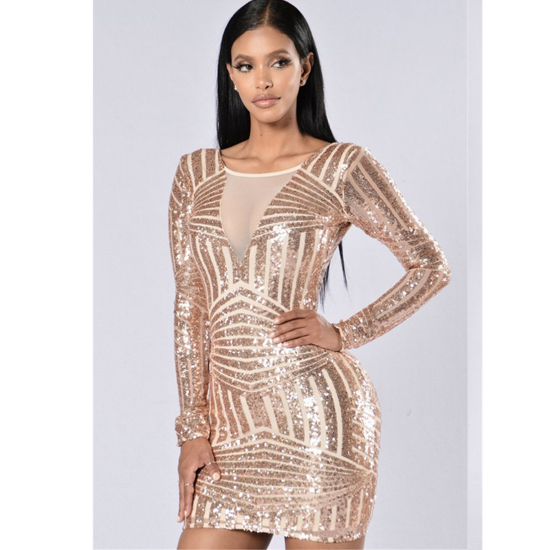Popular Long Sleeve Gold Sequin Mini Dress-Buy Cheap Long Sleeve ...