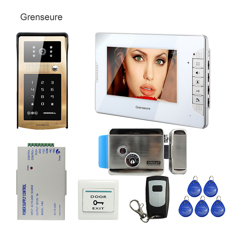 FREE SHIPPING Wired 7 TFT Monitor Video Door Phone Intercom System Outdoor Metal RFID Keypad Doorbell Camera Electric Door Lock wired video door phone intercom doorbell system 7 tft lcd monitor screen with ir coms outdoor camera video door bell