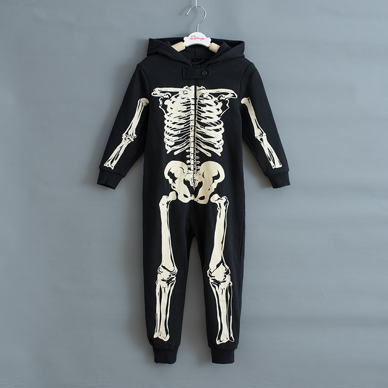 Autumn Winter Skeleton Overalls Jumpsuit Kids Pajamas Children Onesie Sleepers Pajamas Christmas Halloween Costumes