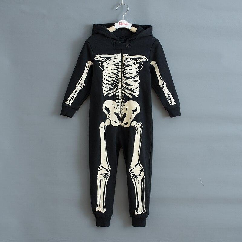 Outono inverno esqueleto macacão crianças pijamas crianças pijamas pijamas pijamas natal trajes de halloween