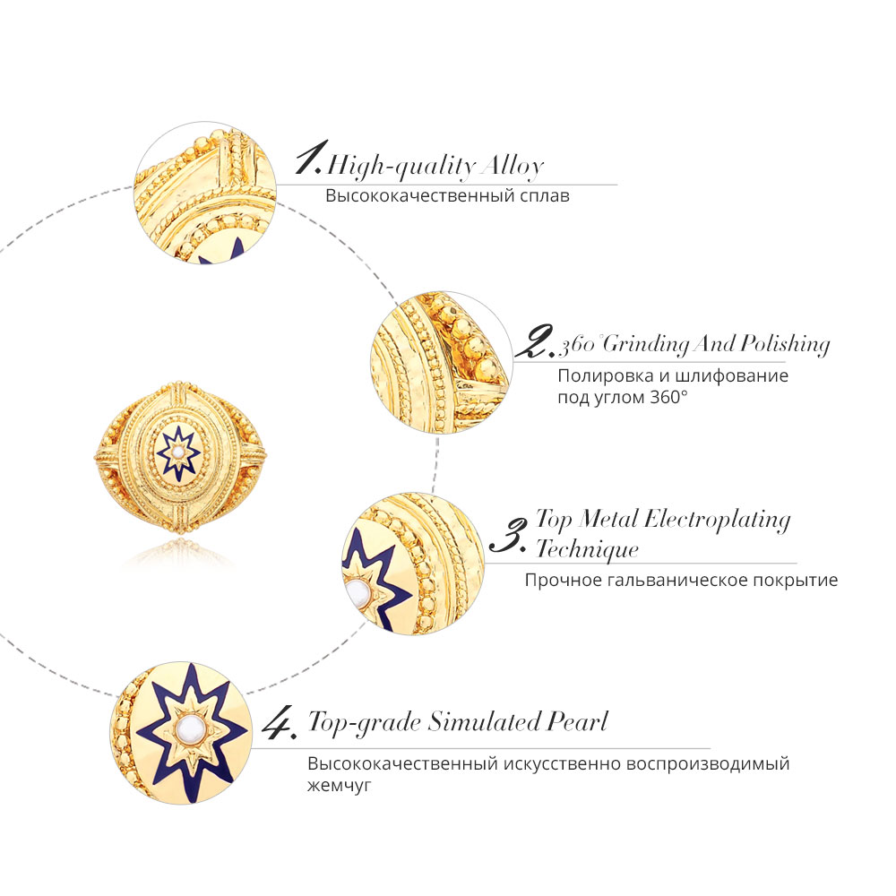 Viennois Fashion Jewelry Gold Color Color Pattern Alloy Simulated Pearl Brooch Pins for Women Lady in Brooches from Jewelry Accessories