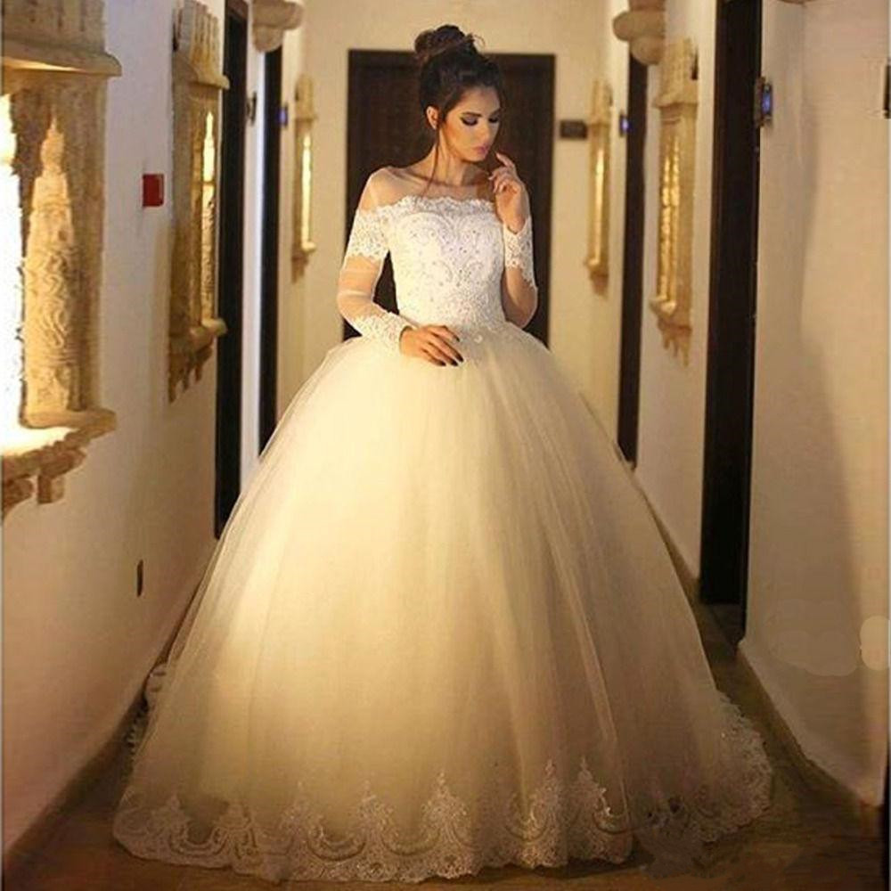 Jeweled Ball Gown Wedding Dresses: 2019 New Ball Gown Wedding Dresses Jewel Neck Sheer Lace