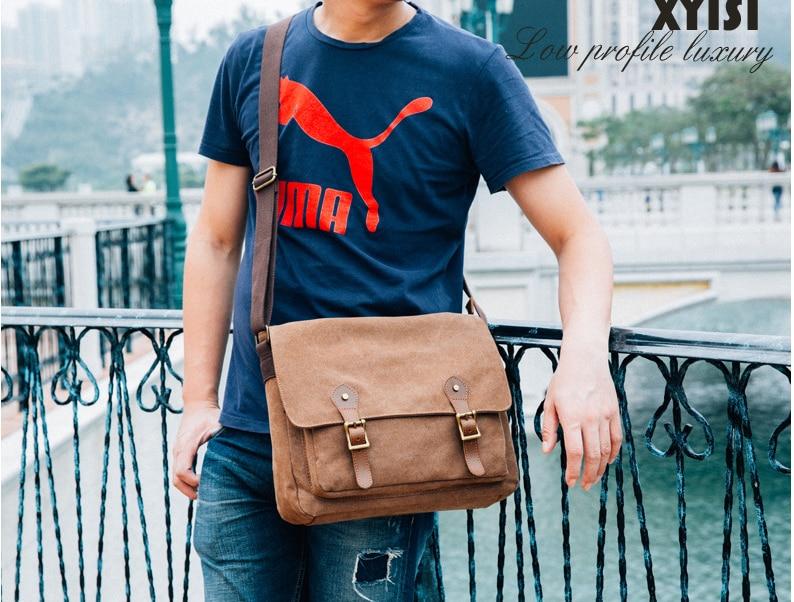 Simple Retro Men Canvas Messenger Bag Chic Durable Casual Shoulder Bag Men's Design All-match Crossbody Laptop Bags Bolsa D810