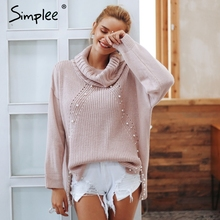 Simplee Beading turtleneck pearl plus size christmas sweater
