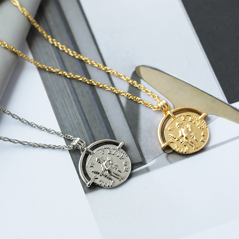 Vintage Carved Coin Necklace For Women Fashion Gold Silver Color Medallion Necklace Trendy Pendant Long Necklaces Boho Jewelry (11)