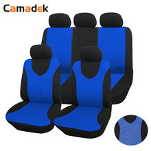 9pcs Set Automotive Seat Covers Headrest Front Rear Bucket Bench Cover Auto Protector Polyester Fit Most Car Truck SUV Van